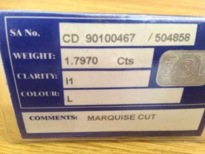 Marquise Cut Diamond Certificate
