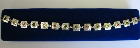 Sterling Silver Bracelet With 12 Natural Tourmalines