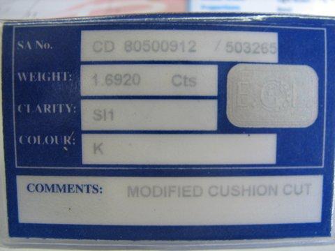 1.69 Carat Diamond Certificate