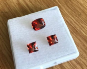 3 garnets with matching pair