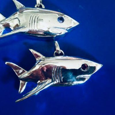 shark pendants with tanzanite eyes