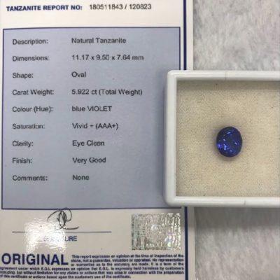 violet blue natural tanzanite 5.92 carat
