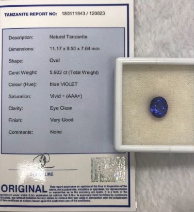 violet blue natural tanzanite 5.92 carat