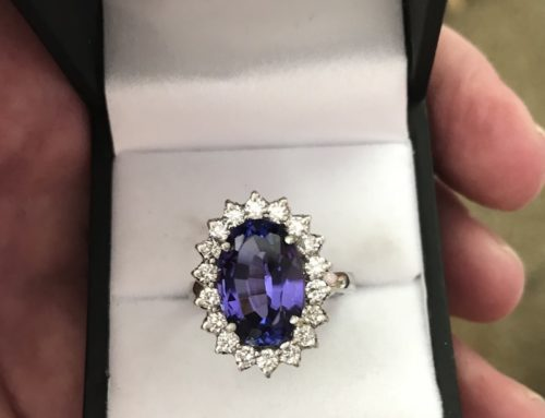 6 Carat Tanzanite Diamond Ring